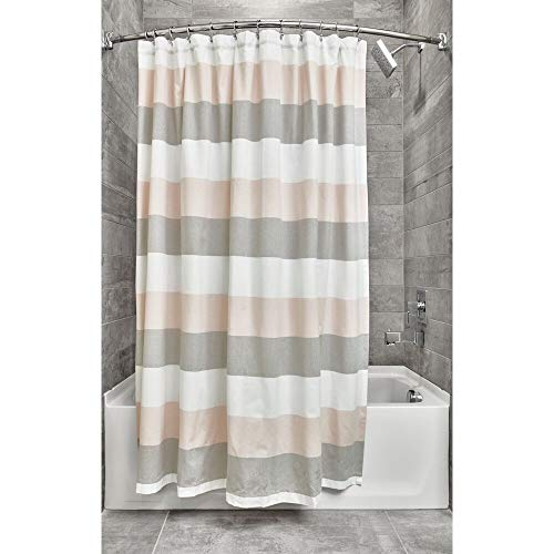 Price comparison product image iDesign,  Broad Striped Wide Bath,  Hook Shower Curtain Made of Cotton and Polyester with Reinforced Eyelets,  Blush / Grey,  183 cm x 183 cm