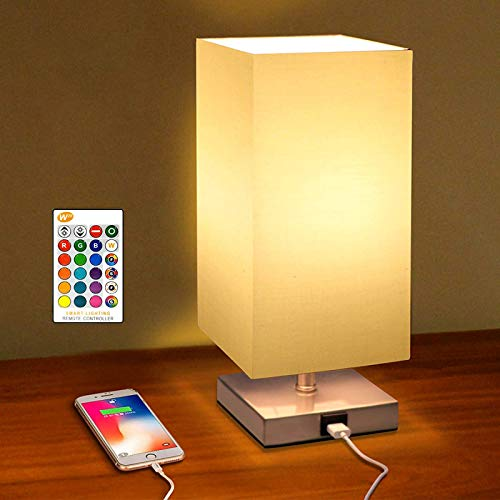 COOLWEST RGB Bedside Table Lamp, Modern Table & Desk Lamp with USB Charging Port, White Square Fabric Shade & Color Changing Night Lights Perfect for Bedroom, Living Room or Office