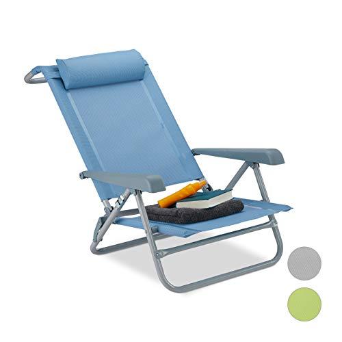 Relaxdays Liegestuhl klappbar, Nackenkissen, Flaschenöffner, 8-stufig verstellbar, bis 120 kg, Kunststoff, Stahl, blau