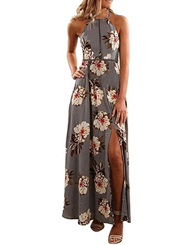 ZESICA Women's Halter Neck Floral Print Backless Split Beach Party Maxi Dress,Grey,Large