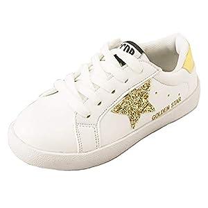 [Daclay] キッズ シューズ ボーイズ ガールズ スニーカー 星 ソフトボトム カジュアル 女の子 滑り止め 男の子 白い靴 シューズ (【28】 16.5cm, ゴールド)