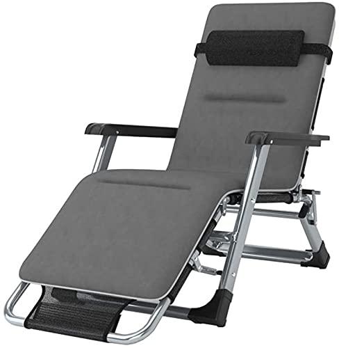 RSTJ Sillones reclinables plegables al aire libre, cama plegable, tumbona, silla de camping, silla de viaje, silla de jardín, silla plegable multifunción (color: negro, tamaño: C+cojín)