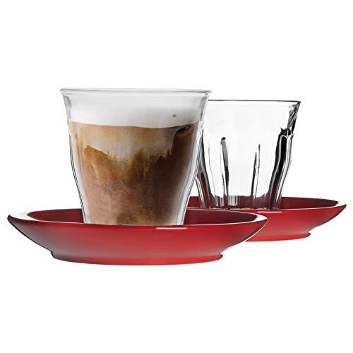 Duralex Picardie - Juego de 12 tazas de café y platillo de cerámica, estilo moderno, taza para café con capuchino, 220 ml, vidrio, Rojo, 14 x 8.5 x 14 CM