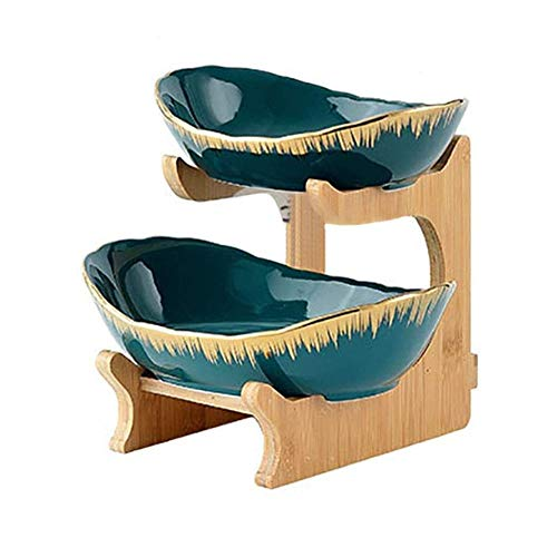 Dracol 2/3 Tier Fruit Bowl Set Oval Bowl with Natural Bamboo Rack Ceramic Plates Serving Tray Set for Fruit Dessert Appetizer Cake Candy Dessert Table Decor