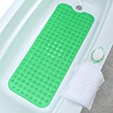 """SlipX Solutions Green Extra Long Bath Mat Adds Non-Slip Traction to Tubs & Showers - 30% Longer Than Standard Mats! (200 Suction Cups, 39"""" Long Bathtub Mat)"""