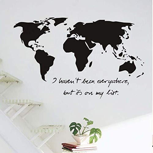 Pegatinas de pared del mapa mundial Nunca he estado en todas partes pero calcomanías pegatinas de pared de dormitorio en mi presupuesto 93cm x58cm