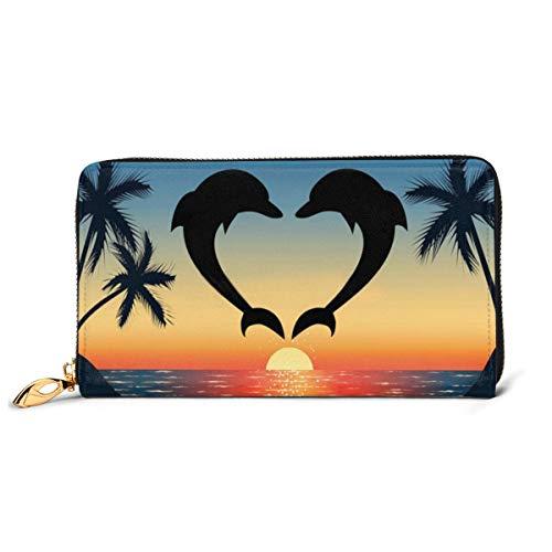 PecoStar Damen-Geldbörse in Herzform, Delfine, Premium-Leder, Clutch, Kartenfächer, Reißverschluss für Ausweis, Münzen und Smartphone