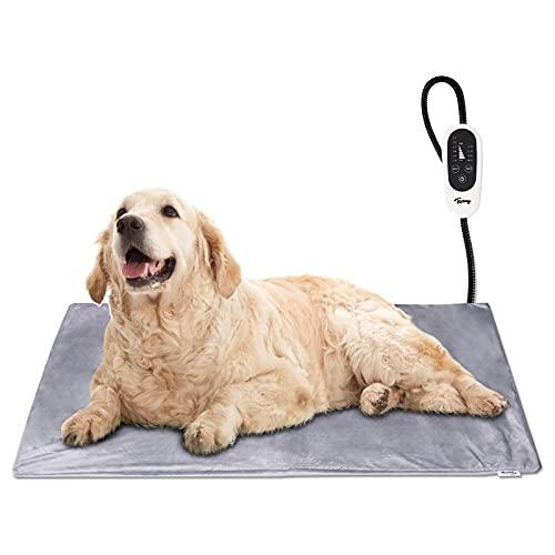 Toozey Manta Eléctrica para Perros y Gatos Interior, Ajustable Temporizador y Temperatrue Almohadilla Calefactora para Mascotas Gatos y Perros Recién Nacidos/Pequeños/Ancianos XL (90 * 60cm)