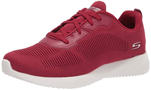 Skechers Damen BOBS Squad Tough Talk Sneaker, Red, 36 2/3 EU