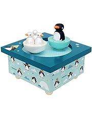 Trousselier - Pingvin och spädbarn - Dansande musikbox - Speldosa - Perfekt födelsegåva - 2 avtagbara figurer - Enkel användning - Musik La Vie en Rose från Edith Piaf - Färg grön