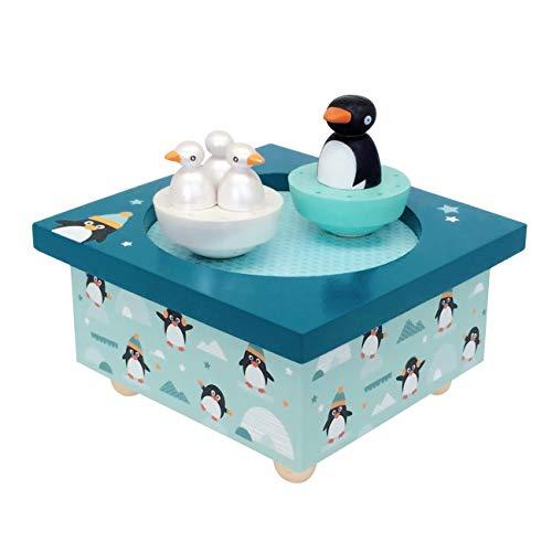 Trousselier - Pinguin & Babys - Tanzende Musikbox - Spieluhr - Ideales Geburtsgeschenk - 2 abnehmbare Figuren - Einfache Bedienung - Musik La Vie en Rose von Edith Piaf - Farbe grün
