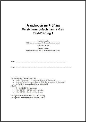 Test-Prüfung 1 zum Versicherungsfachmann/-frau (IHK)