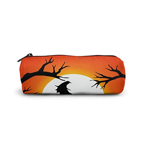 Halloween Spooky Pencil Case Cylinder Shape Pen Stationery Pouch Bag Zippers Pen Bag Office Stationery Bag Cosmetic Makeup Bag Toiletry Bag Cylinder Women Cosmetic Bag