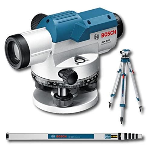 Bosch Professional GOL 32 D - Nivel óptico (alcance 120 m, aumento x32, medida...