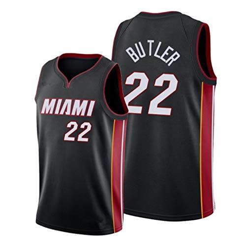 KIDsportxie Pullover di Pallacanestro Maschile di Jimmy Butler 22# Miami Heat Swingman Edition Mesh Maglia Vintage Sport Canotta Senza Maniche T-Shirt,XXL (188~191cm)-Black B