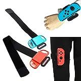 Banda de muñeca para Nintendo Switch Controller Game Just Dance + Fitness Ring Leg con Ring Fit Adventure, correa elástica ajustable para mando Joy-Cons, dos tamaños para adultos y niños
