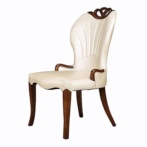 HYY-YY Silla de comedor 2 sillas de madera maciza Silla de comedor Natural Materia prima de madera de goma Silla de comedor Ambiental barniz marco de madera maciza Sillas de cocina (Color: Beige, Tama