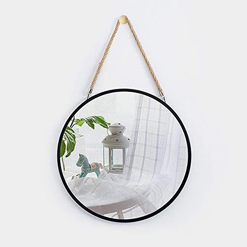 Espejo Colgante Minimalista Moderno de Hierro Forjado y Espejo Decorativo de Pared de Cuerda de cáñamo - Espejo Redondo de baño Dorado/Negro - Espejo de vanidad montado en la Pared