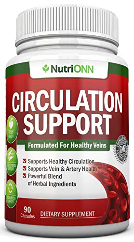 Blood Circulation Support - All Herbal Supplement for Healthy Blood Flow, Arteries & Veins - Promotes Leg Comfort - with Hawthorn, Niacin, L-Arginine, Butcher's Broom, Cayenne Pepper, Horse Chestnut