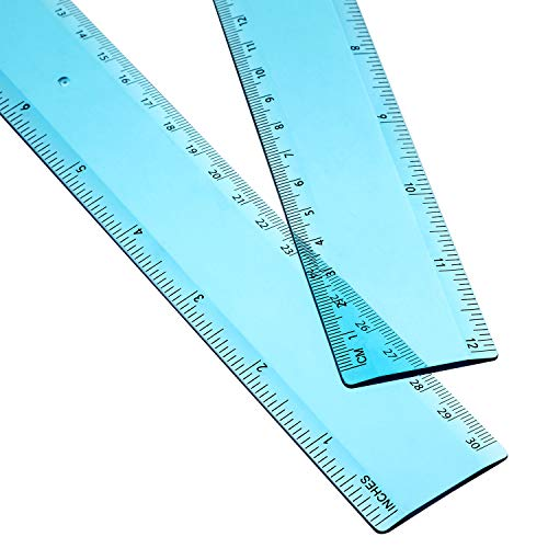 2 Pack Plastic Ruler Straight Ruler Plastic Measuring Tool for Student School Office (Blue, 12 Inch)