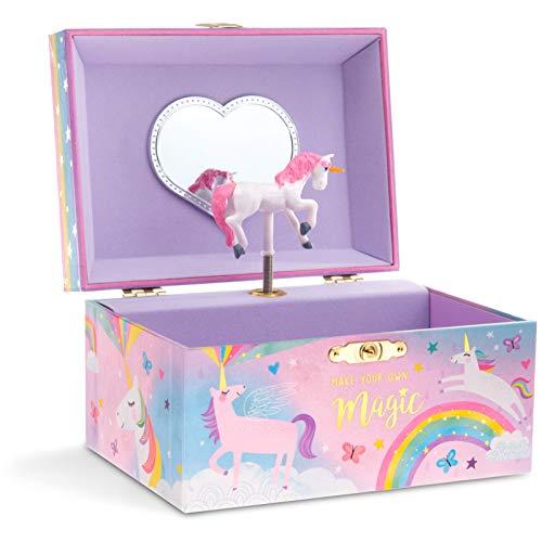 Jewelkeeper - Caja Musical para Joyas para Niñas, con Unicornio Algodón Azucarado - Melodía Over The Rainbow