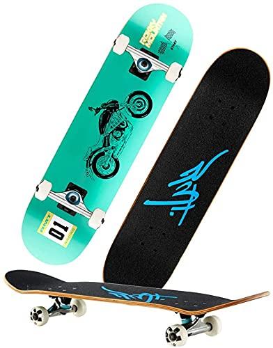 WYQ-BB Skateboard Maple Double Tilt Four-Ring Skateboard, Principiantes, Adolescentes y Adultos patinetas, tableros longizantes para niños, Regalos de cumpleaños para Adolescentes y Adultos
