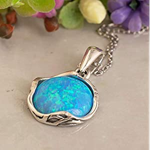 Dainty Blue Opal Necklace - 925 Sterling Silver, October Birthstone