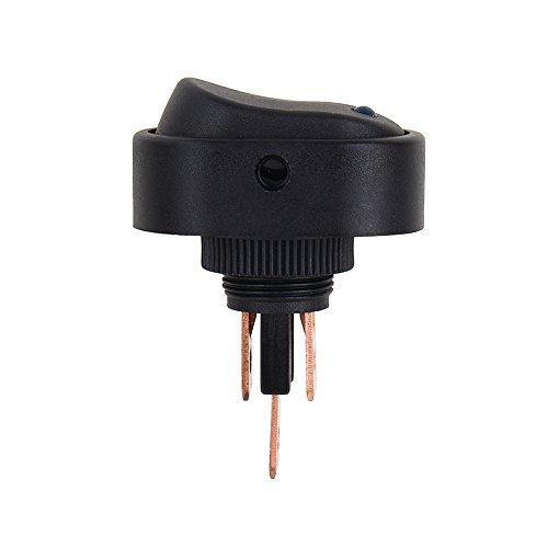Interruptor basculante redondo, 3 pines 12V 30A Interruptor basculante SPST Activar/Desactivar Interruptor de luz LED azul Coche Barco