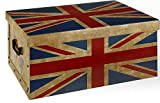 XXL Dekokarton mit modernem Muster 'Flagge UK/ England' - Mit vielen verschiedenen England / LONDON Motiven, Tragegriffen und XXL Stauvolumen! Topp für jeden Haushalt oder als Geschenkbox.