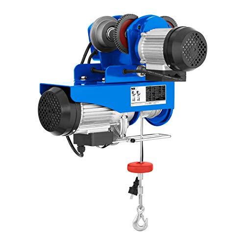 MSW - PROCAT 800 - Laufkatze Krankatze (800 kg, 1.300 W, 12m Seil, Ø 5,1 mm, 2.000 kg Zugfestigkeit) blau