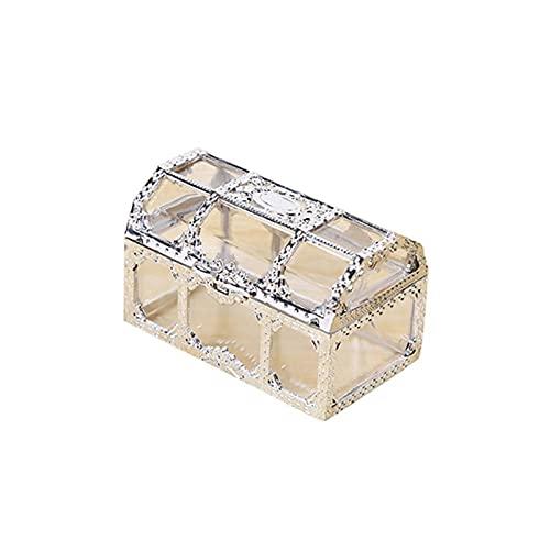 HRTJRS Caja Joyero Caja de Almacenamiento Transparente Vintage Caramelo Titular de la joyería de la joyería Contenedor de Organizador Cofres (Color : Silver)