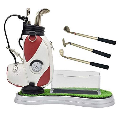 PiaoGolfGift Golf Cart Geschenk Set Golf Bag Golf Stiftehalter, Gadget Desktop Golftasche und 3 Kugelschreiber,Red