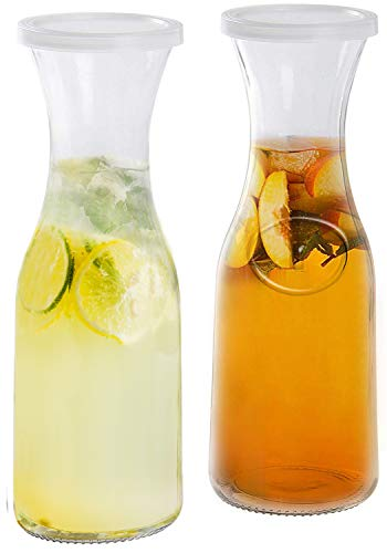 Estilo EST2095 Glass Beverage Pitcher Carafe With Plastic Lids, Narrow Neck Design, 1 liter (33oz) Set of 2, Clear
