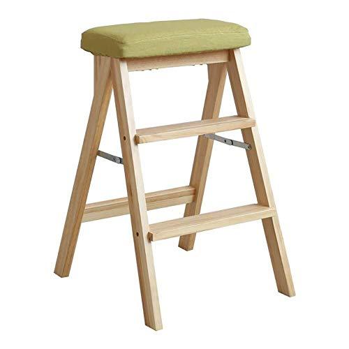 Yxsd Opklapbare houten bank met houten ladder, voor keuken en huishouden, afmetingen 42 x 48 x 67 cm
