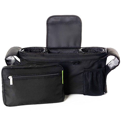 Ethan & Emma Baby Stroller Organizer with Cup Holders – Baby Shower Gift – Secured Fit, Extra Storage, Easy Installation – Universal Stroller Organizer for Smart Moms