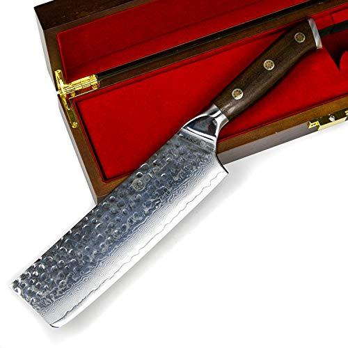 Stallion Damastmesser Ironwood Nakirimesser 17,5 cm - Messer aus Damaststahl mit Griff aus Eisenholz in Edler Geschenkbox