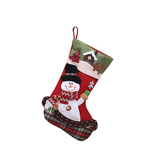 carol -1 Weihnachtsstrumpf, Enthältet Weihnachtsmann, Davidshirsch und Schneemann, Nikolausstiefel zum Befüllen OULII Weihnachtsstrumpf Weihnachtsdekoration, Nikolausstiefel zum Befüllen & Aufhängen