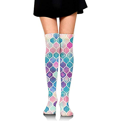Qingqiu Arco Iris Pastel Acuarela Patrón Marroquí Calcetines Calcetines Hasta La Rodilla Tubo Deportivo Largo Calzado Casual Botas Calientapiernas