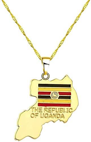 WYDSFWL Collares de Moda con Colgante de Mapa de Uganda Dorado a la Moda para Mujeres/Hombres, joyería de Moda, Collar de Bandera de Uganda con Colgante de Reloj