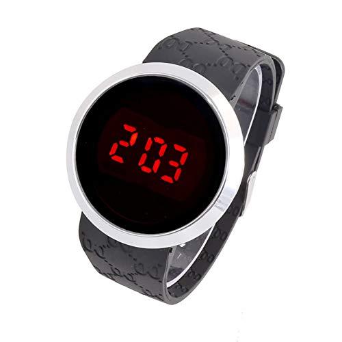 Unisex elektronisch horloge, eenvoudig en stijlvol zakelijk horloge, ultradun horloge met aanraaklegering, comfortabele siliconen band, het beste cadeau voor koppels, vrienden en familie,Black 1