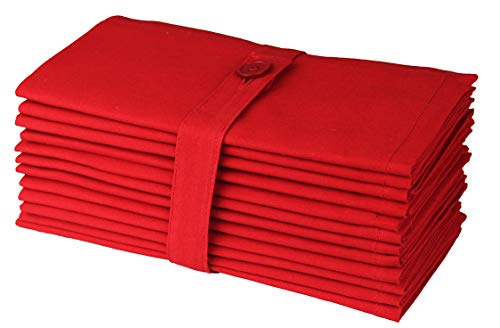 COTTON CRAFT Classic Cotton Set of 12 Pure Cotton Solid Color Dinner Napkins, 18 inch x 18 inch, Red