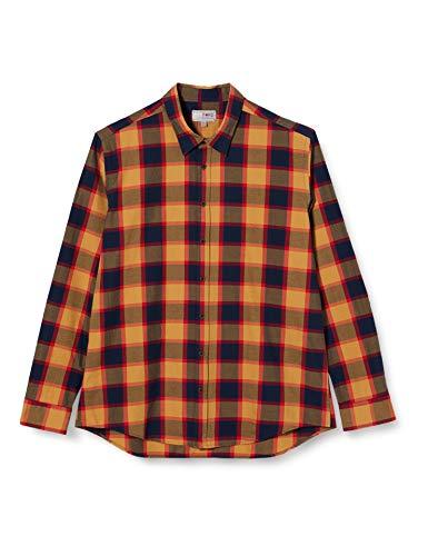 Redford Herren Freizeit Hemd Slim Fit, Mehrfarbig (Camel Navy 03), Kragenweite: 44 cm (Herstellergröße: 4344)