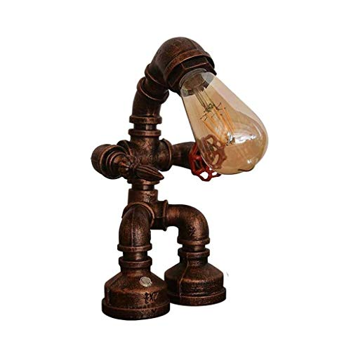 YXX Luz de Noche, lámpara de Mesa Retro, lámpara de Mesa Vintage, Tubos de Agua de Hierro Industrial Retro Robot Steampunk Desktop Light for el Escritorio de la cabecera (bulbos no incluidos)