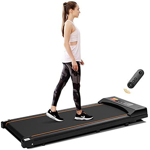 TODO Under Desk Treadmill Electric Portable Walkstation Installation Free, Slim Flat with Remote Control and LED Display, Walking Jogging for Home Office Use, Black