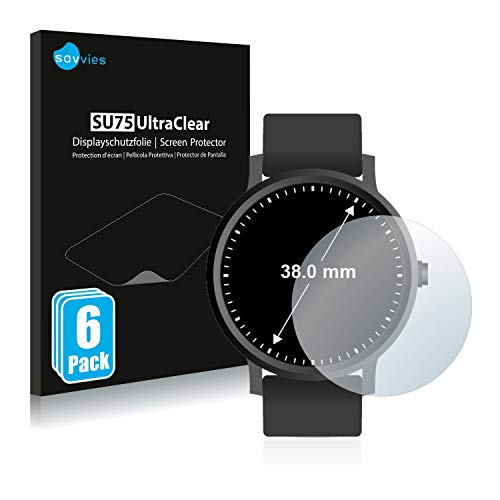 Savvies 6X Schutzfolie kompatibel mit Armbanduhren (Kreisrund, Durchmesser: 38 mm) Displayschutz-Folie Ultra-transparent