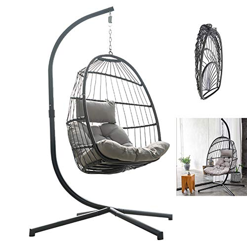 ZLRE Indoor Outdoor Patio Wicker Hanging Chair Swing Hammock Egg Chairs Aluminum Frame 350 lbs Capacity, for Patio Backyard Balcony