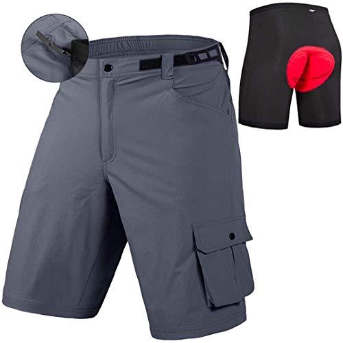 qualidyne Pantalones cortos de bicicleta de montaña 3D acolchados Ciclismo MTB Pantalones cortos ligeros de ajuste suelto