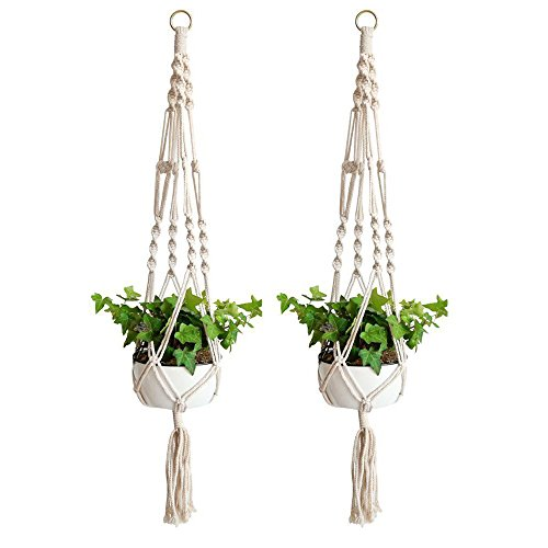 WIWAPLEX Macrame Plant Hanger, 2 Pack Plant Hanger, Cotton Rope Plant Hangers Indoor Outdoor, 4 Legs Plant Hanger Brackets, Flower Pot Hanging Plant Holder for Home Decorations 40 Inches(White)