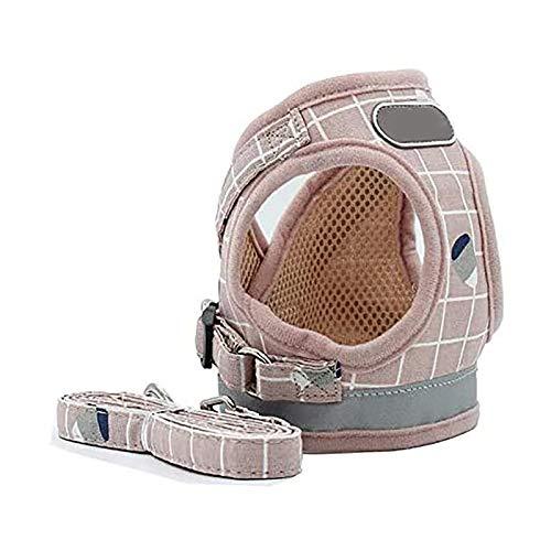 Juego de arnés y correa reflectante de malla suave transpirable para perro y gato, color rosa