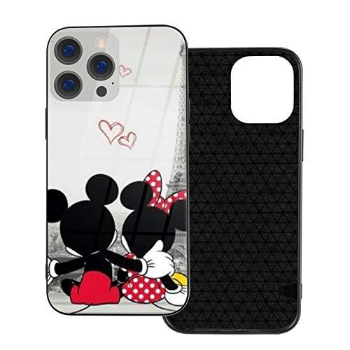 Funda para iPhone 12 Mickey y Minnie Anti-Drop compatible con iPhone 12, adecuado para iPhone 12 Pro 6.1/Max 6.7 funda de vidrio ultrafino linda y duradera
